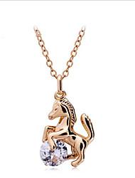 Men's Women's Pendant Necklaces AAA Cubic Zirconia Zircon Cubic Zirconia Gold Plated AlloyDangling Style Heart Fashion Adorable