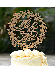 Mr & Mrs Wreath Wedding Cake Topper Made of Wood and Hand Painted or in Natural Wood Color