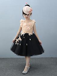 Ball Gown Knee Length Flower Girl Dress - Tulle Charmeuse Sleeveless Jewel Neck