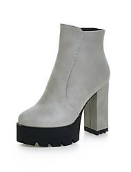 abordables -Mujer-Tacón Robusto-Plataforma-Botas-Oficina y Trabajo Vestido Informal-PU-Negro Beige Gris Morrón Oscuro
