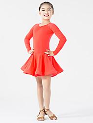 Danse latine Robes Enfant Spectacle Elasthanne Fibre de Lait Fantaisie 1 Pièce Manche longue Taille moyenne Robe