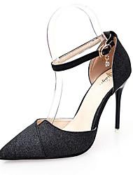 Women's Heels Comfort PU Spring Casual Walking Comfort Buckle Stiletto Heel Gold Black Sliver 3in-3 3/4in