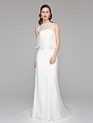 cheap -Sheath / Column Jewel Neck Chapel Train Chiffon Custom Wedding Dresses with Ruffle by LAN TING BRIDE®