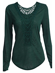 Women's Going out / Casual/Daily Simple / Street chic Spring / Fall T-shirtPatchwork Lace Hollow Out Round Neck Long Sleeve