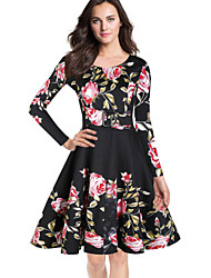 cheap -Women's Plus Size Vintage Sheath Dress,Print Round Neck Knee-length Long Sleeve Blue Red Black Yellow Cotton Polyester Spring Mid Rise