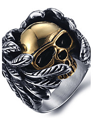cheap -Men's Fashion Punk Style 316L Titanium Steel Vintage Personality Skull Engraved Zircon Statement Rings Casual/Daily 1pc