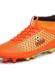 Soccer Shoes Men's Athletic Shoes Spring Fall Comfort PU Casual Flat Heel Lace-up Blue Green Orange