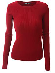 Standard Pullover Da donna-Per uscire Casual Vacanze Sensuale Semplice Moda città Tinta unitaBlu Rosa Rosso Beige Nero Grigio Verde