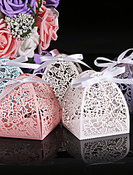 cheap -Round Square Cylinder Pearl Paper Favor Holder with Printing Favor Boxes - 50
