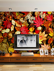 JAMMORY Art Deco Wallpaper For Home Wall Covering Canvas Adhesive Required Mural Large Area of Stacked Maple Leaves XL XXL XXXL