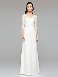 Sheath / Column V-neck Floor Length Lace Wedding Dress with Beading Sash / Ribbon Button by LAN TING BRIDE®