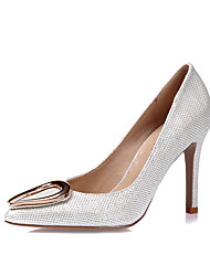 Women's Heels Spring Summer Fall Winter Glitter Leatherette Wedding Party & Evening Dress Stiletto Heel Gold White Black Silver