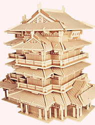 cheap -Wooden Puzzles Famous buildings Chinese Architecture House Professional Level Wood Christmas Carnival Valentine's Day Girls' Boys' Gift