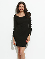 Women's Casual/Daily Sexy Shift DressSolid Round Neck Above Knee Long Sleeve Black / Gray Cotton