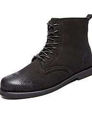 cheap -Men's Boots Fall Winter Comfort PU Casual Flat Heel Lace-up Black Almond Walking