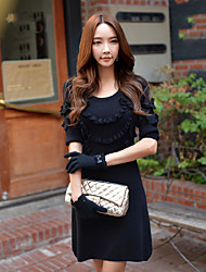 DABUWAWA Women's Going out Casual/Daily Holiday Vintage Punk & Gothic Sophisticated Sheath Little Black Sweater DressSolid Round Neck Above Knee