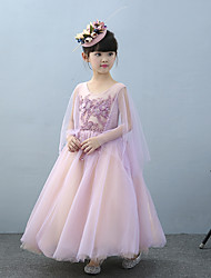 cheap -A-Line Ankle Length Flower Girl Dress - Tulle Charmeuse Sleeveless Jewel Neck with Beading Lace Sequins by Huaxirenjiao