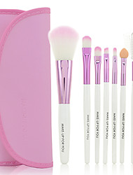 preiswerte -Tragbares 7 teiliges Make-up Kosmetik Pinsel Set (Rosa)