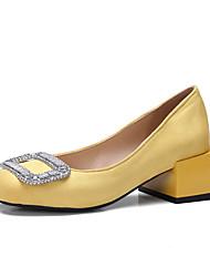 abordables -Femme Chaussures Laine synthétique Printemps / Eté Confort Chaussures à Talons Talon Bottier Strass Noir / Jaune / Rouge / Habillé