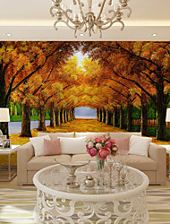 cheap -JAMMORY Art DecoWallpaper For Home Wall Covering Canvas Adhesive required Mural Street Yellow Tree XL XXL XXXL