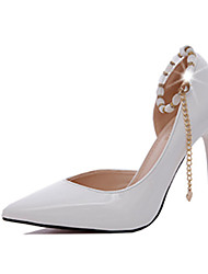 Women's Heels Comfort PU Spring Fall Casual Office & Career Dress Walking Comfort Pearl Stiletto HeelWhite Black Light Grey Ruby Blushing