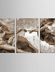Set Tela Astratto Ritratti Classico Stile europeo,Tre Pannelli Tela Verticale Stampa artistica Decorazioni da parete For Decorazioni per
