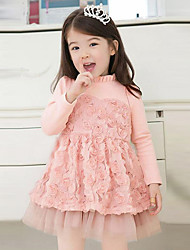 Girl's Cotton Casual Spring/Fall Going out Casual/Daily Lace Patchwork Bowknot Sweet Long Sleeve High Collar Dress