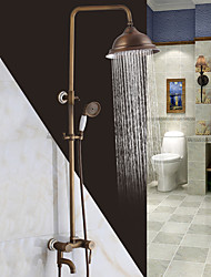 cheap -Antique Traditional Shower System Waterfall Widespread Handshower Included Ceramic Valve Two Holes Single Handle Two Holes Antique Copper