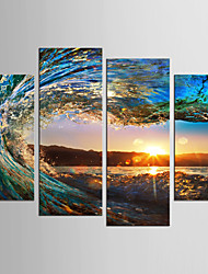 cheap -Landscape Still Life Classic Modern, Four Panels Canvas Any Shape Print Wall Decor Home Decoration