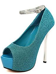 cheap -Women's Sandals Summer Peep Toe PU Casual Stiletto Heel  Black / Blue / Purple / Silver
