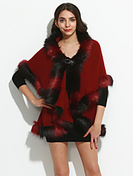 Women's Going out / Party/Cocktail Vintage / Sophisticated Long Cloak / Capes Imitation Fox Fur Coat Shawl Lapel