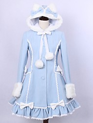 Coat Gothic Lolita Classic/Traditional Lolita Princess Vintage Inspired Elegant Victorian Rococo Cosplay Lolita Dress Solid Long Sleeves