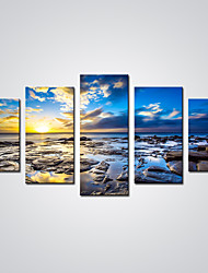 cheap -Rolled Canvas Prints Landscape Leisure Modern Realism, Five Panels Canvas Horizontal Print Wall Decor Home Decoration