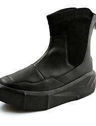 cheap -Men's Boots Spring Fall Comfort PU Casual Low Heel Split Joint Black White Walking