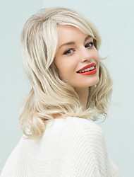 Medium Slightly Curled Inclined Bang Human Hair Ombre Wigs
