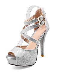 Women's Sandals PU Spring Summer Fall Casual Outdoor Office & Career Buckle Stiletto Heel Gold Silver 4in-4 3/4in