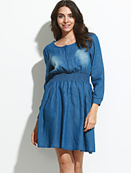 cheap -Women's Solid Blue Denim Dress (jeans)