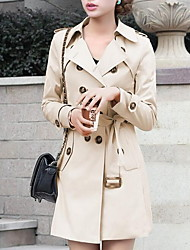 Women's Casual/Daily Simple Trench Coat,Solid Long Sleeve Fall Beige Black Polyester Medium