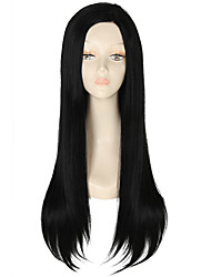 Недорогие -Парики из искусственных волос Прямой Kardashian Стиль Лента спереди Парик Черный Черный как смоль Искусственные волосы Жен. Природные волосы Черный Парик