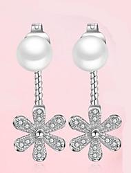 Недорогие -zircon цветок жемчужина серьги свадебная вечеринка элегантный женственный стиль