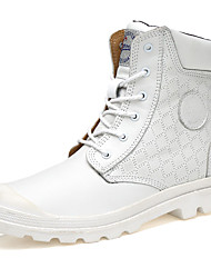 cheap -Men's Boots Spring Fall Comfort PU Outdoor Office & Career Casual Low Heel White Black Walking