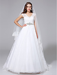 A-Line V-neck Court Train Lace Wedding Dress with Crystal Sash / Ribbon by LAN TING BRIDE®