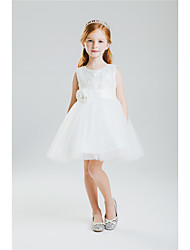 Princess Knee Length Flower Girl Dress - Cotton Crepe Sleeveless Jewel Neck by Anbaby