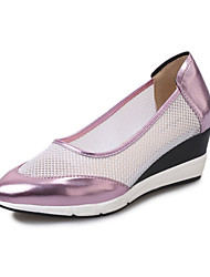 Women's Loafers & Slip-Ons Spring Fall Comfort Patent Leather Tulle Casual Wedge Heel  Pink Silver Gray Walking