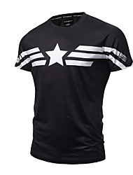 Men's Sports Going out Casual/Daily Simple Active Punk & Gothic All Seasons T-shirt,Print Round Neck Short Sleeve Cotton Polyester