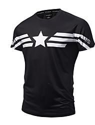 baratos -Homens Camiseta - Esportes Activo Punk & Góticas Estampado Algodão Decote Redondo Delgado