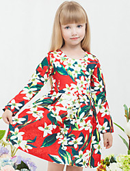 Girl's Going out Formal Print Dress Spring Fall Long Sleeve
