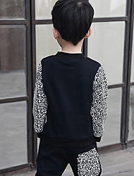 cheap -Boys' Daily Going out Patchwork Clothing Set, Cotton Spring Fall Winter Long Sleeves Animal Print Black Gray