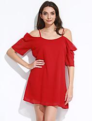 billige -Dame I-byen-tøj Løstsiddende Kjole - Ensfarvet Mini Skulderfri Højtaljede