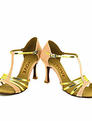 cheap -Women's Latin Salsa Satin Leatherette Sandal Heel Professional Performance Buckle Ribbon Tie Customized Heel Blue Pink Bronze Almond Nude